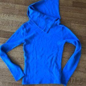turtle neck blue sweater